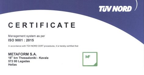 Acquisition of the ISO 9001